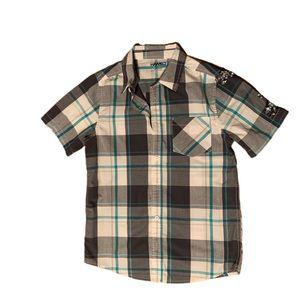 Tony Hawk Boys Plaid Button-Down Short Sleeve - L